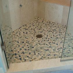 Sea Glass Blend pebble stone and glass tile - New sea glass pebble stone mosaic.