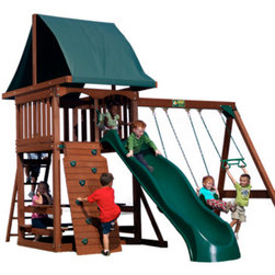 "Play Sets for Any Size Yard - The Acadia Play Set by Backyard Adventures is a value-priced, ""package deal""  cedar wood play set for children ages 3-10.  It comes with everything shown except a slide, which can be purchased separately.Set.Dimensions are 13' 8"" W x 14' D x 11' H.  Additional safety clearances are needed in front of slide, and behind swings."
