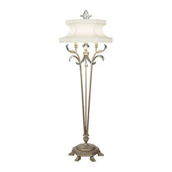 Fine Art Lamps - Beveled Arcs Floor Lamp, 737420ST - With its muted silver leaf finish, this floor lamp will add delicate elegance to your favorite formal setting. Design highlights include distinctive crystals and a laminated silk shantung shade.
