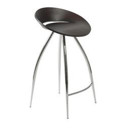 Rubin-C Counter Stool-Wen/Chrm - Take command of the counter when you sit on this futuristic-inspired stool. It features a disc-shaped seating area and four extraterrestrial, no, wait … extraordinary legs that keep you grounded (on Earth).