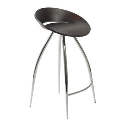 Eurostyle - Rubin-C Counter Stool-Wen/Chrm - Take command of the counter when you sit on this futuristic-inspired stool. It features a disc-shaped seating area and four extraterrestrial, no, wait … extraordinary legs that keep you grounded (on Earth).