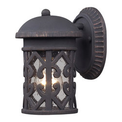 Elk Lighting - EL-42065/1 Tuscany Coast 1-Light Outdoor Sconce in Weathered Charcoal - The seaside resort of marina di pietrasanta offers wonderful landscapes in a relaxing atmosphere. This series is a dedication to the refined details that abound throughout this coastal resort. This series is crafted from cast aluminum with a durable weathered charcoal finish and clear seeded glass.