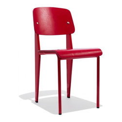 Industry West - Prouve Chair with a Red Oak Seat - A nod to the iconographic French modernist Jean Prouve, the Prouve Standard Chair, just like its namesake, has a certain je ne sais quoi making it a contemporary solution for any space.