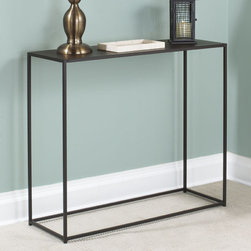 """TFG - Urban Console Table - Features: -Constructed with solid steel rods and steel plate tops.-Beautiful and durable powder coated in coco.-Sleek design is well suited for smaller spaces.-Coco finish.-Collection: Urban.-Distressed: No.-Top Finish: Coco Powdercoat.-Base Finish: Coco Powdercoat.-Powder Coated Finish: Yes.-Gloss Finish: No.-Top Material: 18 gauge steel.-Base Material: Steel.-Solid Wood Construction: No.-Reclaimed Wood: No.-Weather Resistant or Weatherproof: Not weather resistent.-UV Resistant: No.-Scratch Resistant: No.-Stain Resistant: No.-Moisture Resistant: No.-Drop Leaf Top: No.-Lift Top: No.-Adjustable Height: No.-Glass Component: No.-Nested Stools Included: No.-Legs Included: Yes -Number of Legs: 4.-Leg Type: Straight..-Magazine Rack: No.-Casters: No.-Exterior Shelves: No.-Cabinets Included: No.-Drawers: No.-Corner Block: No.-Cable Management: No.-Weight Capacity: 40 lbs.-Outdoor Use: No.-Swatch Available: Yes.-Commercial Use: No.-Recycled Content: No.-Eco-Friendly: No.-Product Care: Wipe clean with a dry cloth.Specifications: -FSC Certified: No.-ISTA 3A Certified: No.-ISTA 1A Certified: No.-CARB Certified: No.-General Conformity Certified: No.-ISO 9000 Certified: No.-ISO 14000 Certified: No.Dimensions: -Overall Product Weight: 26 lbs.-Overall Height - Top to Bottom: 29"""".-Overall Width - Side to Side: 34"""".-Overall Depth - Front to Back: 12"""".-Table Top Thickness: 0.04"""".-Table Top Width - Side to Side: 34"""".-Table Top Depth - Front to Back: 12"""".-Shelving: No.-Cabinets: No.-Legs: -Leg Height - Top to Bottom: 29""""..Assembly: -Assembly Required: No.-Tools Needed: No tools needed.-Additional Parts Required : No.Warranty: -Product Warranty: 1 year limited warranty."""
