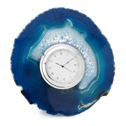 Inova Team -Modern Metal And Agate Desk Clock - In ancient times, semi-precious agate was thought to bring pleasant dreams to its owners. Bring this restful sentiment home and lend a nod to one of nature's most colorful creations with this vibrant clock, designed by Anna Rabinowicz. Nestled in the center of a one-of-a-kind slice of rich blue agate, the sleek clock face adds a contemporary touch of style to this piece, while the rich swirls of color harken back to its mystical origins.