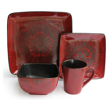 Jay Import Co - Laurette Red Square 16 Piece Dinnerware Set - Bring a touch of drama to your table with this 16-piece dinnerware set (full service for four). The surprising square plates and rich red rosettes add flair to sumptuously frame your everyday meals.