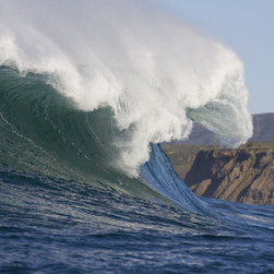 Murals Your Way - Mavericks Throwing, Mavericks Wall Art - The giant waves on California's Mavericks beach, just north of Half Moon Bay at the village of Princeton-By-The-Sea, are caused by a particular
