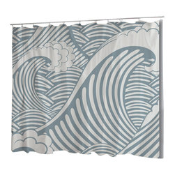 Uneekee - Uneekee Blue Wave Shower Curtain - Your shower will start singing to you and thanking you for such a glorious burst of design as you start your day!  Full printing on the front and white on the back.  Buttonhole openings for shower rings.