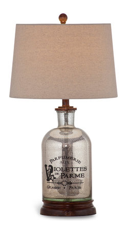 """Bassett Mirror - Brassiere Table Lamp - Inscribed with the French perfume label, """"Parfumerie Aux Violettes De Parme,"""" this chic lamp exudes feminine elegance. Featuring a wood base, mercury glass with a crackle glaze finish and a textured beige drum shade, this lamp pairs well with traditional decor. Requires 60 watts or less, bulbs not included."""