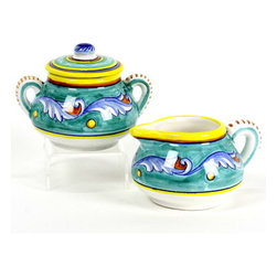 Artistica - Hand Made in Italy - GIADA: Creamer and Sugar Bowl Set - GIADA Collection: The Giada (Jade) pattern features intertwining Acanthus leaves painted in delicate aqua-teal color tones, a pattern that is commonly found in 15th Century Italian Catholic churches and cathedrals.