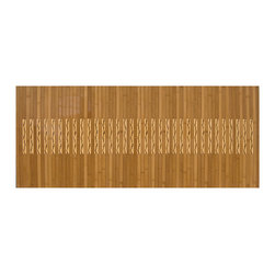 "Anji Bamboo Kitchen & Bath Mat 20"" x 48"" - Produced from 100% eco-friendly bamboo from the Anji Mountains, this mat feels warm under bare feet in winter and cool in summer. With a unique inlay design inspired by natural contrasting bamboo tones, this mat will bring the beauty of nature into your kitchen or bath. The high-gloss polyurethane finish is both beautiful and durable and a non-skid rubber backing keeps the mat in place.  Dimensions: 20 x 48"