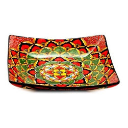 Artistica - Hand Made in Italy - Geribi: Square Large Centerpiece Bowl - Fully Decorated In-Out - Geribi Collection: