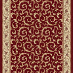 Tayse Rugs - Elegance Red, Green and Blue Rectangular: 5 Ft. x 7 Ft. Rug - - Scrollwork interior with floral border makes this rug a perfect companion to traditional or transitional d�cor. In classic colors that are always in fashion. Red with gold and ivory. Made of soft polypropylene that is easy to clean. Vacuum and spot clean.  - Square Footage: 35  - Pattern: Oriental  - Pile Height: 0.39-Inch Tayse Rugs - 5400  Red  5x7