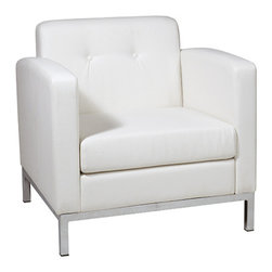 Office Star - Office Star Avenue Six Wall Street Arm Chair in White Faux Leather - Wall street arm chair in white faux leather