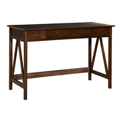 Linon Home Decor - Linon Home Decor TITIAN DESK X-U-DK-10-BOTA45168 - Our Titian Collection has a simple yet eye-catching design that is matched with incredible durability. This versatile desk makes good use of space with ample work and display space.  A single, wide drawer provides ample hidden storage space for small items.  A neutral, classic Antique Tobacco finish allows this piece to easily complement your homes decor.