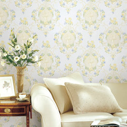 Maybelle Mint CAmeo Damask Brewster Wallpaper - The Claremont book from Brewster is full of classic colors and patterns to add a relaxed feeling of home to rooms.