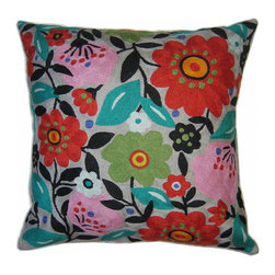 Kim Parker Inc. - Frida's Garden Pillow Without Insert - The artistry of celebrated designer Kim Parker is lovingly captured in this exuberant floral throw pillow. Made from 100 percent New Zealand wool and individually embroidered by hand, each pillow is a masterwork of color and craft, sure to be treasured for years.