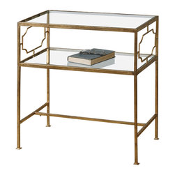 Uttermost - Uttermost Genell Side Table - Genell Side Table by Uttermost An Upscale, Traditional Design In Gold-leafed Iron With Moderate Antiquing. Top And Gallery Shelf Are Clear, Tempered Glass.