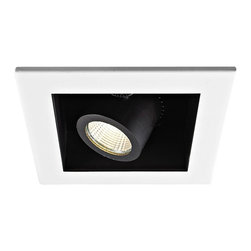 """WAC - WAC 40 Degree 3000K LED Recessed Housing Single Flood Light - Offer a smooth finished look to your ceilings with this 3000K LED recessed housing designed for new construction projects. A white finish trim surrounds the black housing which holds a dimmable flood light with a 40 degree beam spread. For non-insulated ceilings. ENERGY STAR® rated. ETL and cETL listed. Compatible with WAC recessed lighting products. 4"""" WAC new construction single flood light recessed housing. 40 degree beam spread. Color temperature is 3000K. Includes one 16 watt LED. Light output is 1100 lumens. Comparable to a 75 watt MR16 bulb. Bulb averages 50000 hours at 3 hours a day. 100 percent to 10 percent dimming. CRI is 85. 120 to 277 volts. ENERGY STAR® rated. For non-insulated ceilings. 14 15/16"""" wide. 6"""" high.  4"""" WAC new construction single flood light recessed housing.  40 degree beam spread.  Color temperature is 3000K.  Includes one 16 watt LED.  Light output is 1100 lumens.  Comparable to a 75 watt MR16 bulb.  Bulb averages 50000 hours at 3 hours a day.  100 percent to 10 percent dimming.  CRI is 85.  120 to 277 volts.  ENERGY STAR® rated.  For non-insulated ceilings.  14 15/16"""" wide.  6"""" high."""
