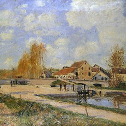 """Alfred Sisley The Bourgogne Lock at Moret, Spring   Print - 18"""" x 24"""" Alfred Sisley The Bourgogne Lock at Moret, Spring premium archival print reproduced to meet museum quality standards. Our museum quality archival prints are produced using high-precision print technology for a more accurate reproduction printed on high quality, heavyweight matte presentation paper with fade-resistant, archival inks. Our progressive business model allows us to offer works of art to you at the best wholesale pricing, significantly less than art gallery prices, affordable to all. This line of artwork is produced with extra white border space (if you choose to have it framed, for your framer to work with to frame properly or utilize a larger mat and/or frame).  We present a comprehensive collection of exceptional art reproductions byAlfred Sisley."""