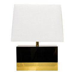 Worlds Away - Worlds Away Black Lacquer and Brass Rectangular Table Lamp FOLEY BL - Black rectangular lamp base with brass base and white rectangular shade. Ul approved for one 60 watt bulb.
