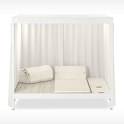 City Camp Daybed With Roof, Chalk - If you don't have an outdoor daybed yet, you don't know what you're missing. This one feels more like a full bed, and it's perfect for napping or reading your favorite book in the garden. It's pure luxury.