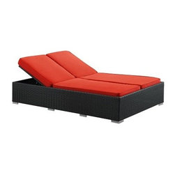 Evince All-Weather Wicker Chaise Lounge - Calling all sunbathers, siesta lovers, and patio regulars - the Evince All-Weather Wicker Chaise Lounge just might be your new best friend. With a double design built for two, this chaise lounge features two adjustable recline/incline backs, not to mention a variety of vibrant cushion colors and a very, very good reason to spend more time outside.And this chaise lounge is built tough, too. The espresso-colored synthetic rattan wicker weave covers a powder-coated aluminum frame, and both base and cushions are water- and UV-resistant. You can even toss the cushion covers in the washing machine to clean--it's that easy. And as an added bonus, this chaise lounge comes pre-assembled, so no time with tools and instructions, more time basking in the sun.About ModwayModway designs and manufactures modern classic furniture pieces for the contemporary home. The quality pieces are fresh and elegant with a distinctively updated appeal. Simple, clean lines and a vibrant selection of colors and finishes make these pieces perfect for the home or office. A wide selection of products include pieces for the living room, dining room, bar, office, and outdoors. High-quality and innovative designs make Modway the premier company for luxurious modern style.