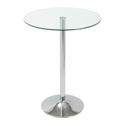 Euro Style - Talia Bar Table - A welcoming circle of glass is fitted to a polished chromed steel base. It's a bright and friendly look that's easy to maintain and durable. The perfect place to mingle for a close circle of friends.