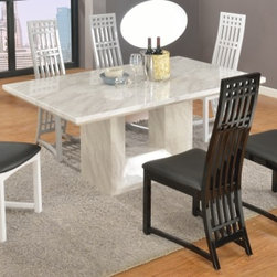 Contemporary Margaret 7 PC Dining Set - Perfectly designed in mission and modern styles, this set offers wonderful dining table with marble top and base finished in Jazz White, 2 Chairs in Gray, 2 Chairs in Black, and 2 Chairs in White finish. Each of them has high backrest with slatted design, and black PVC seat.