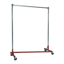 Z Racks - Heavy Duty 5 ft. Z-Rack Garment Rack w 60 in. - Base Color: Red. 500lb capacity. 14 gauge, 60 in. Long steel base (Environmentally safe powder coated finish ). 16 gauge, 60 in. upright bars and hang rail. 1 5/16 outside diameter upright bars and hang rail. Grey non-marking soft rubber with TP center 4 in. casters . Made in the USA. 63 in. L x 23 in. W x 67 in. HIf you don�۪t know what five feet of upright storage combined with five feet of length can do, you�۪ve got to try this Z-Rack. With perfect proportions and a variety of colors to choose from, this Z-Rack rack can solve a variety of storage problems, such as office organization and apparel needs.