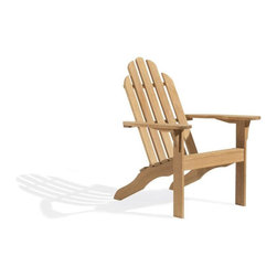 Oxford Garden - Adirondack Chair - Sit back and enjoy the view.  The Oxford Adirondack, so classic, so stylish, so durable, and above all else, so very comfortable.  Weve gone to great lengths to make this the choice of all chairs for spending quiet time to read, catch a sunset, or take a nap under your favorite shade tree.  After studying, building, and rebuilding our chair many times, we have been able to create the perfect angles for maximum comfort. It is so relaxing for your back, neck, and head, and when it is time to get up, unlike many adirondack chairs, ours will let your get up easily. Try it. You will appreciate the difference.  Our Adirondack is made of shorea, a teak family wood that is more dense and heavy than teak.  Shorea requires no finishing and will not rot when left outdoors where rain and sun will damage other lesser quality woods.  Left untreated, shorea will weather to a soft warm shade of gray similar to the weathering of teak.  Sturdy mortise and tenon construction provides the highest quality joinery that will last for many years.  Original color can be maintained by applying a seasonal coat of teak oil.  Don't forget to add extra comfort and more relaxtion by adding our Adirondack Foot Stool to complete your selection.