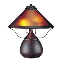 CAL Lighting - Mission-Style Mica Table Lamp - This Mission-style table lamp exhibits the best of American design and craftsmanship. A Mission-style table lamp with a rust finish teardrop base. The shade is fashioned from the naturally occurring mica mineral. Slight variations due to the natural tone and pattern of the mineral make each shade unique. Best when accented by other Tiffany-style lamps!