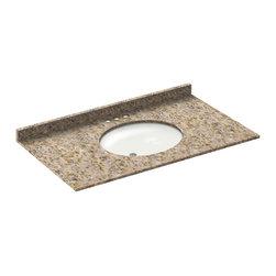 LessCare - 43x22 Wheat Granite Vanity Countertops - 4 Faucet Spread - *Condition: New