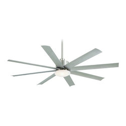 Minka Aire Fans - Minka Aire Brushed Nickel Outdoor Ceiling Fan - F888-BNW - Contemporary / modern brushed nickel 1-light outdoor ceiling fan. Takes (1) 18-watt compact fluorescent spiral bulb(s). Bulb(s) sold separately. UL listed. Wet location rated.