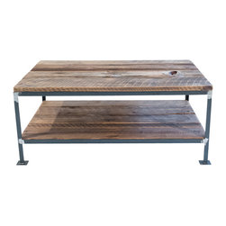 """Handcrafted - Handcrafted Rectangular Salvaged Wood and Steel Coffee Table with Dual Shelves - Our handcrafted tables are made of salvaged wood from 100+ year old barn in the foothills of the Appalachian Mountains. The wood on this table was on the outside of the barn and has beautiful characteristics! The base was welded in our shop using 1"""" angle iron."""