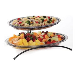 Creative Bath 2 Tier Buffet Server with 2 Platters - Make your parties and special events more festive with the Creative Bath 2 Tier Buffet Server with 2 Platters. Perfect for entertaining, this two-tier buffet server holds appetizers, fruit, cheese, meat, olives, and more on two spacious serving platters. The round platters (one large and one small) are made of clear, durable acrylic, so they're lightweight yet durable. They rest securely on the two-tiered black metal stand with curved legs for added elegance. The top tier of the stand swings to allow easy access to the bottom tier. Made in the USA, this stylish buffet server is dishwasher-safe and disassembles for easy storage. The serving platters can be used individually or with the stand.Set Includes:Small platter: 15.13L x 8.5W x 1.63H inchesLarge platter: 18L x 9.88W x 1.88H inchesMetal standAbout Creative BathFor over 30 years, Creative Bath has developed innovative, stylish bathroom decor items. They have grown exponentially, and now you can find their products in major retail and online stores around the world. From shower curtains to soap dishes and everything in between, Creative Bath brings you high quality items to enhance your lifestyle.