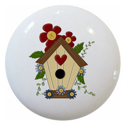 Carolina Hardware and Decor, LLC - Birdhouse Ceramic Cabinet Drawer Knob - 1 1/2 inch white ceramic knob with one inch mounting hardware.  Great as a cabinet, drawer, or furniture knob.  Adds a nice finishing touch to any room!