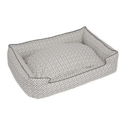 Jax and Bones - Hera Grey Everyday Cotton Lounge Bed - Medium/Large by Jax & Bones - Bolstered side and center pillow unzip for easy maintenance and is overstuffed with our hypo-allergenic green fiber.This bed is constructed using our everyday cotton fabric. Sweet dreams are made easier this fun, vibrant and colorful medium weight fabric. This bed is perfect for any time of the year, and is especially popular during the summer months. A light weight fabric that breathes well and is easy to care for. Medium/Large bed is perfect for dogs up to 70 lbs.