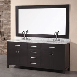 "Design Elements - London 72"" Espresso Finish Double Sink Vanity Set - London 72"" Espresso Finish Double Sink Vanity Set; Solid wood cabinet; Carrera White marble countertop; Four functional-pull out drawers with two double-door cabinets; White porcelain drop in sinks; Faucet not included.; Matching pop up drain; Matching framed mirror; Soft closing cabinet door ensuresyou never hear door slam again.; Assembly Required?: No.; One year warranty on parts; Dimensions: Vanity - 72""W x 22""D x 34""H; Mirror - 68""W x 39""H"