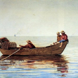 """Winslow Homer Three Boys in a Dory with Lobster Pots   Print - 16"""" x 24"""" Winslow Homer Three Boys in a Dory with Lobster Pots premium archival print reproduced to meet museum quality standards. Our museum quality archival prints are produced using high-precision print technology for a more accurate reproduction printed on high quality, heavyweight matte presentation paper with fade-resistant, archival inks. Our progressive business model allows us to offer works of art to you at the best wholesale pricing, significantly less than art gallery prices, affordable to all. This line of artwork is produced with extra white border space (if you choose to have it framed, for your framer to work with to frame properly or utilize a larger mat and/or frame).  We present a comprehensive collection of exceptional art reproductions byWinslow Homer."""