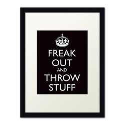 Keep Calm Collection - Freak Out and Throw Stuff, black frame (black) - This item is an Art Print which means it is a higher-quality art reproduction than a typical poster. Art prints are usually printed on thicker paper, resulting in a high quality finish. This print is produced on a 270 gsm fine art paper stock.
