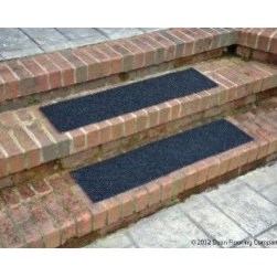 "Dean Flooring Company - Dean Indoor/Outdoor Non Skid Carpet Stair Treads - Black - 24"" x 9"" (Set of 4) - Dean Indoor/Outdoor Non Skid Carpet Stair Treads - Black - 24"" x 9"" (Set of 4) : Heavy Duty Indoor/Outdoor  Non-Skid Walk-Off Carpet Stair Treads  by Dean Flooring Company.  Color: Black  Face: 100% Hi UV stabilized polypropylene fiber.  Backing: All weather non-skid latex rubber.  Edges: Will not ravel or delaminate.      Size: 24"" x 9"" each     Each set includes four stair treads     Fade resistant     Commercial or residential.     Helps prevent slips on your stairs.     Great for helping your dog easily navigate your slippery staircase.     Reduces noise.     Reduces wear and tear on your stairs.     Easy to clean (hose off, sweep, vacuum, spot clean).     Attractive: adds a fresh new look to your staircase.     Easy DIY installation with heavy duty indoor/outdoor double sided carpet tape (not included - sold separately).     Made in the USA!  Add a touch of warmth and style to your home today with stair treads from Dean Flooring Company!"