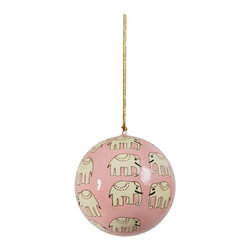 Hand-Painted Ball Ornament, Hathi, Pink - This hand-painted elephant ornament is available in pink or blue.