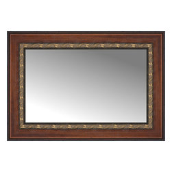 """Posters 2 Prints, LLC - 25"""" x 18"""" Malabar Walnut Custom Framed Mirror - 25"""" x 18"""" Custom Framed Mirror made by Posters 2 Prints. Standard glass with unrivaled selection of crafted mirror frames.  Protected with category II safety backing to keep glass fragments together should the mirror be accidentally broken.  Safe arrival guaranteed.  Made in the United States of America"""