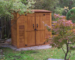 Grand Garden Chalet 6x3 - Cedar Garden Shed - The 6x3 Grand Garden Chalet is a great panelized 100% Western Red Cedar Shed! It's big enough for a bicycle, garbage cans or loads of sporting equipment. Sidle one up to your house today. Hardware and pre-manufactured floor included. • The Western Red Cedar Construction is panelized for quick assembly with functional double doors and 2 adjustable shelves and Cedar shingle roof.  Hardware included.