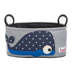 3 Sprouts - 3 Sprouts Stroller Organizer, Whale - Hit the road with our 3 Sprouts blue Stroller Organizer in cute whale pattern. It keeps all your essentials organized and within reach when you are out for a walk with your tot. Our stroller organizer is completely wipeable and has two insulated drink holders, perfect for a sippy cup or bottle. The main cargo area holds tons of stuff from that kicked off shoe, discarded sun hat or favorite snack.