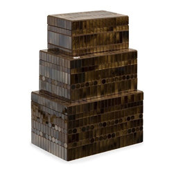 """IMAX - Chai Mosaic Boxes - Set of 3 - Mosaic glass tiles in a warm brown/amber are arranged in an alternating pattern of rectangles and circles as they climb the Chai Mosaic Boxes. This svelte set ofeethr  boxes is sure to catch the light in your eye. For a coordinated look purchase matching bottle and photo frames. Item Dimensions: (3.25-4-5.25""""h x 7.25-8.5-9.5""""w x 4-5.25-6.25"""")"""