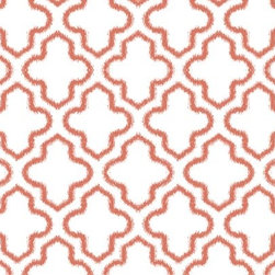 Ikat Moroccan Wallpaper, Tuscan Mud - Instead of a floral for a girl's room, how about a trendy (but lasting) pattern? This trellis print is great fun.