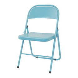 America Chair - The aluminum folding chair. Usually an ugly drag that we picture in stacks, stored underneath the stage at the high school. However, a powdercoating of bright beautiful color has completely transformed a banal piece into an eye-catching charmer. It comes in several fun colors - buy a set all in one or mix and match your own little rainbow.