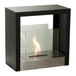"Ignis - Tectum S Freestanding Ventless Ethanol Fireplace - Toasty warm heat is yours when you install this stylish Tectum S Freestanding Ventless Ethanol Fireplace in your den, living room, or bedroom. This sleek fireplace takes up very little space, but it puts out a plethora of heat to keep you feeling warm and comfortable all season long. It comes equipped with a powerful 1.5-liter ethanol burner insert that burns for a full five hours between refills, giving you ample time to lie in front of the fire and get warm or snuggle with that special someone. It puts out 6,000 BTUs of warm, clean heat without the need to install a chimney or put up with the mess and fuss of ashes and suit. Dimensions: 19.6"" x 19.6"" x 9.9"". Features: Ventless - no chimney, no gas or electric lines required. Easy or no maintenance required. Freestanding - can be placed anywhere in your home (indoors & outdoors). Capacity: 1.5 Liter Burner. Approximate burn time - 5 hours per refill. Approximate BTU output - 6000."